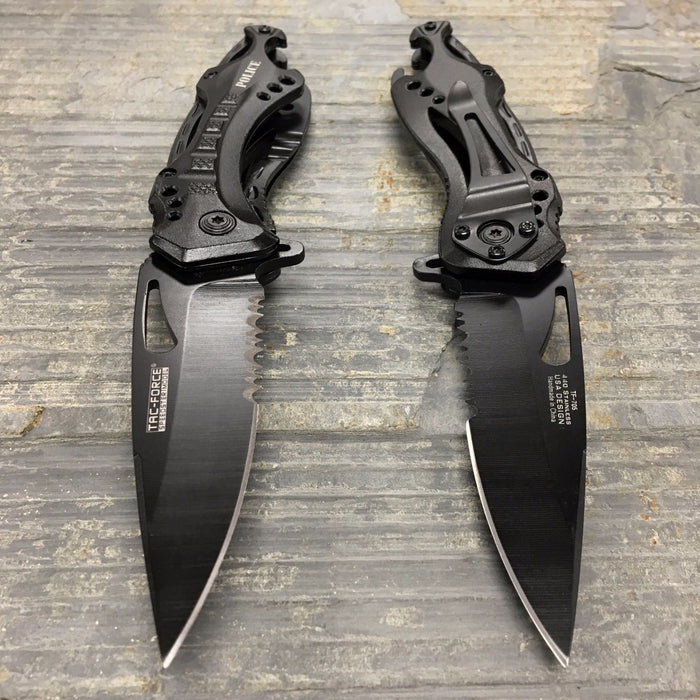 Tac Force Assisted Open Black Police Camping Outdoor Hunting Pocket Knife