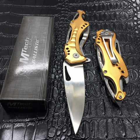 M-Tech Spring Assisted Gold/Silver Aluminum Tactical Rescue Pocket Knife!