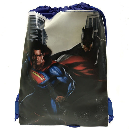 DC Comics Batman vs Superman Blue Drawstring backpack Sport Gym Bag for Kids