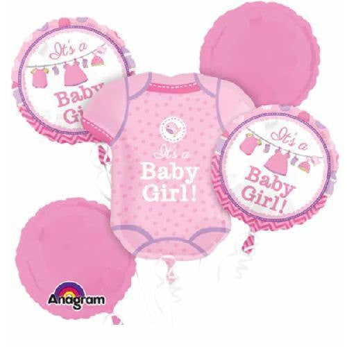 It's a Girl Baby Shower Balloon Bouquet Party Supplies - 5pc