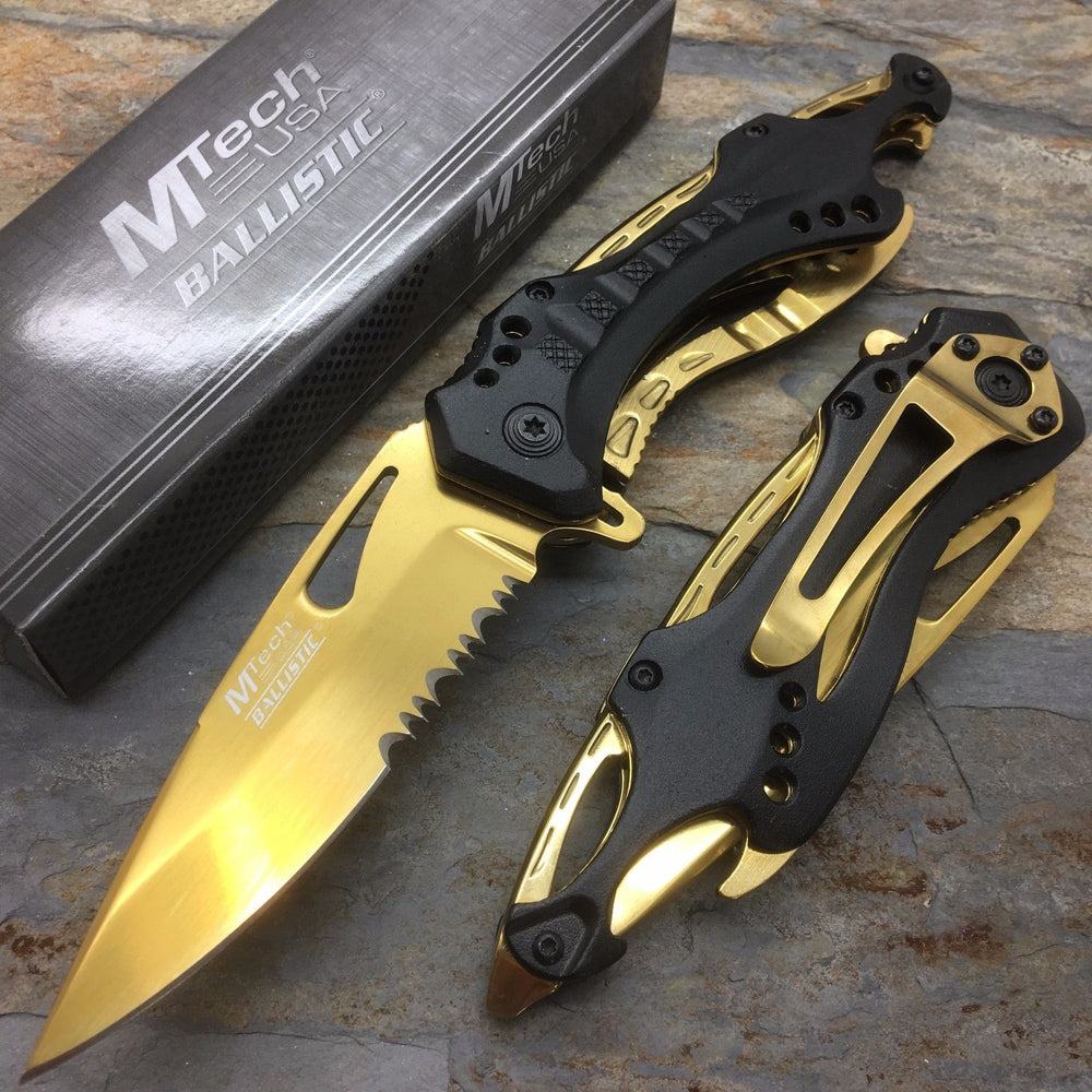 M-Tech Spring Assisted Gold Blade TI-Coated Aluminum Tactical Pocket Knife
