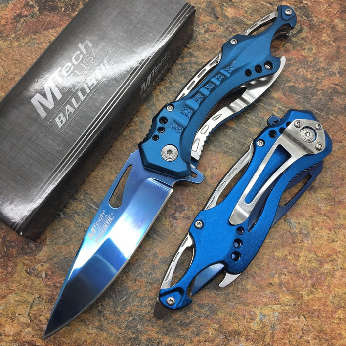 M-Tech Spring Assisted Blue/Silver Aluminum Tactical Rescue Pocket Hunting Knife