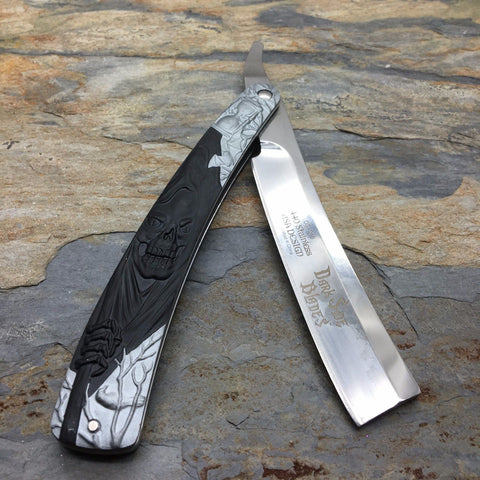 "Dark Side Blades 5.5"" Barbor Shop Razor Blade, Black Grim Reaper Handle"