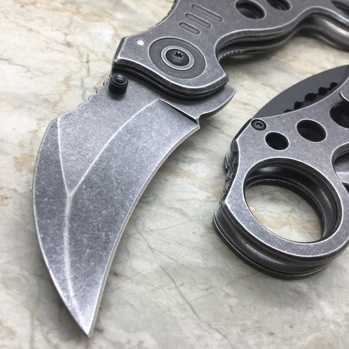 TAC FORCE Stone Wash Spring Assisted KARAMBIT STYLE Tactical Pocket Knife
