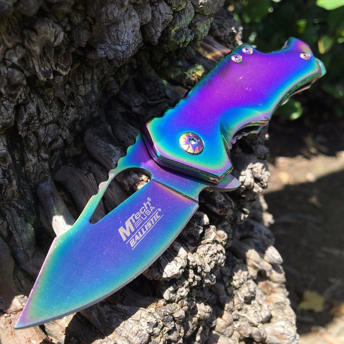 MTech Ballistic Rainbow Small Pocket Knife w/ Bottle Opener!