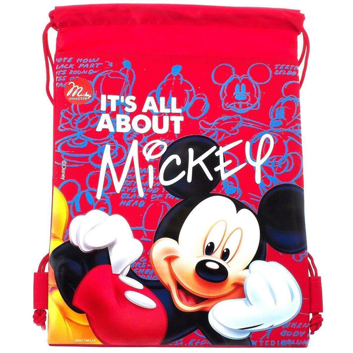 Disney Red It's all about Mickey Drawstring Backpack School Black Sport Gym Bag