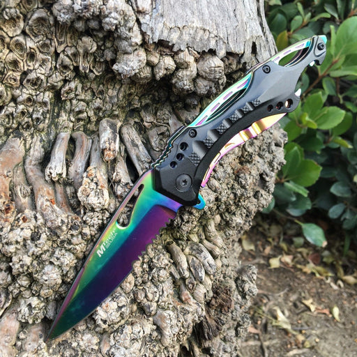 M Tech Folding Knife Rainbow Blade Tactical Rescue Pocket Hunting Knife