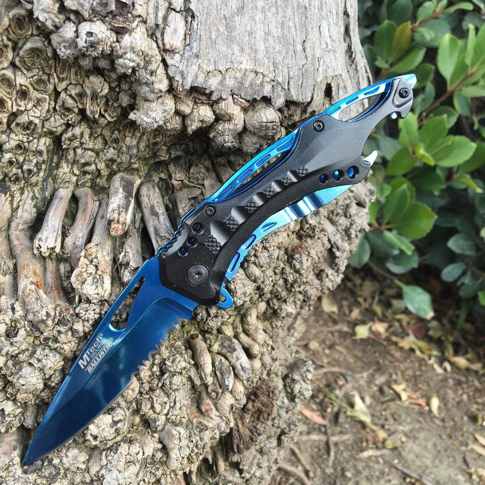 M-Tech Spring Assisted Blue TI-Coated Aluminum Tactical Rescue Pocket Knife!