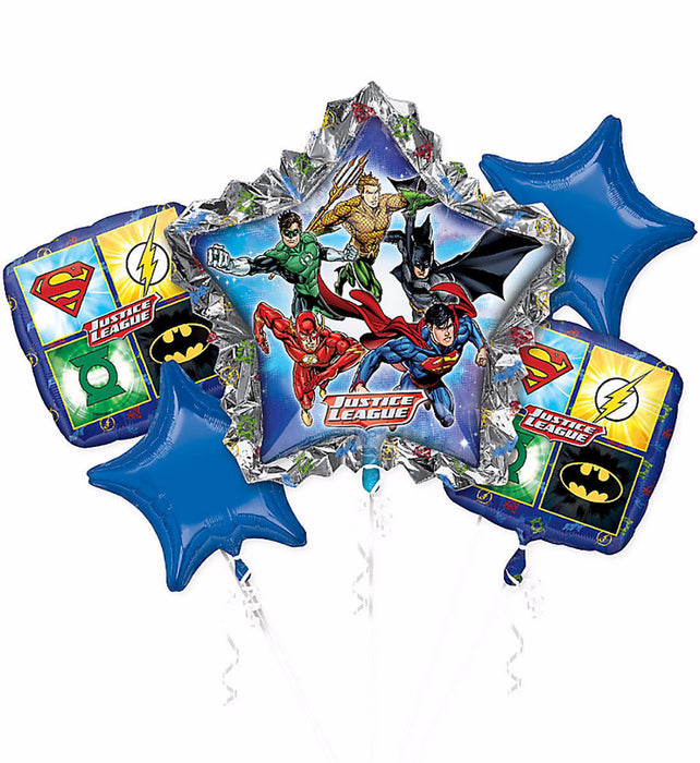 Justice League Superman Batman Flash Balloon Bouquet Party Supplies - 5pc