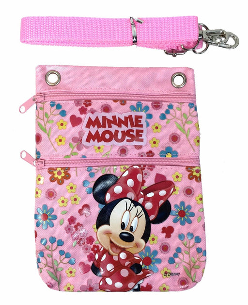 Disney Light Pink Minnie Mouse Wallet Camera Pouch Bag Purse Shoulder Strap 7.5""