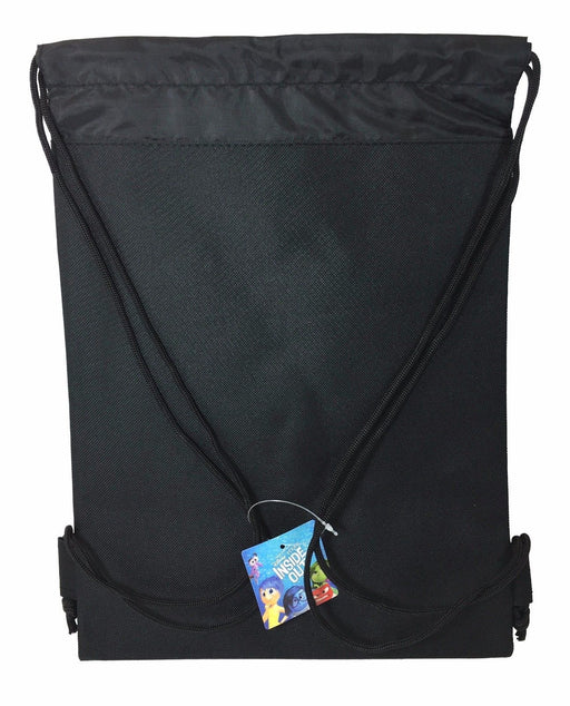 Disney Inside Out The Movie Drawstring Backpack School Black Sport Gym Bag