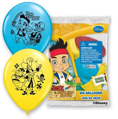 6ct Disney Jake Never Land Pirates Birthday Latex Balloons Party Supplies 12""