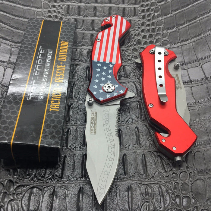TAC FORCE Spring Assisted USA Flag United States Camping Hunting Pocket Knife