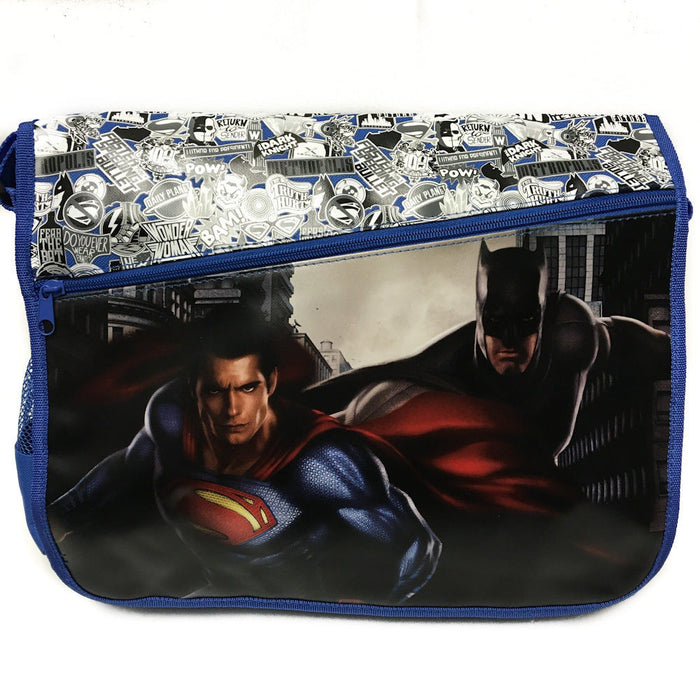 "DC Comis Batman vs Superman 16"" Large Blue Messenger Backpack School Book Bag"