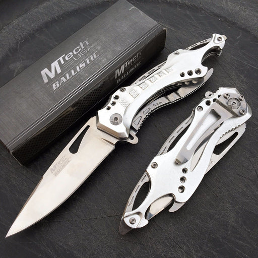 M-Tech Spring Assisted Silver TI-Coated Aluminum Pocket Knife w/ Bottle Opener