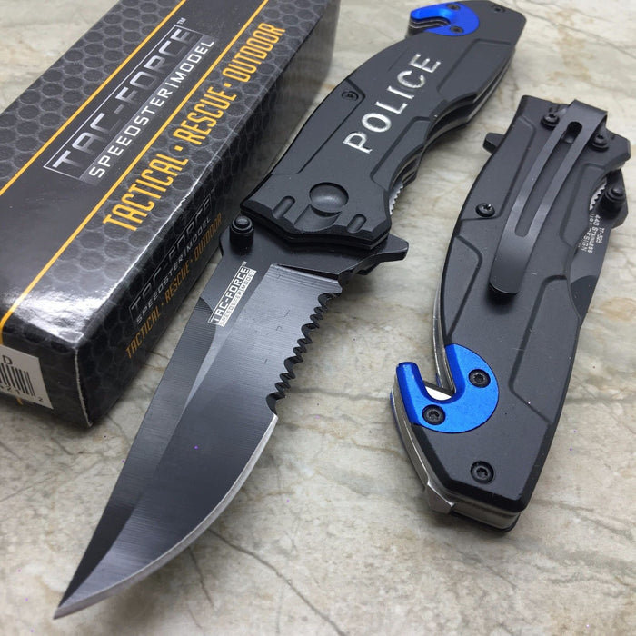 Tac Force Open Assisted Police Cop Rescue Folder Tactical Handy Pocket Knife