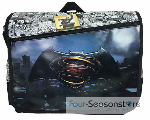 "DC Comis Batman vs Superman 16"" Large Black Messenger Backpack School Book Bag"