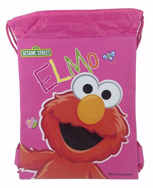 Sesame Street Elmo Drawstring Backpack School Sport Pink Gym Bag