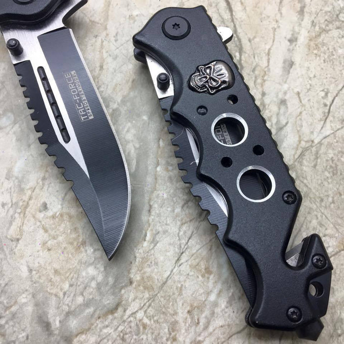 Tac Force Black Skull Head Handle Pocket Hunting Tactical hunting Handy Knife