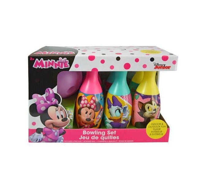Disney Minnie Mouse Bowling Set Toy Game Kids Birthday Gift Toy 6 Pins &1 Ball