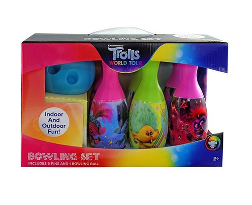 Dreamworks Trolls World Tour Bowling Set Toy Game Kids Birthday Gift Toy 6 Pins &1 Ball
