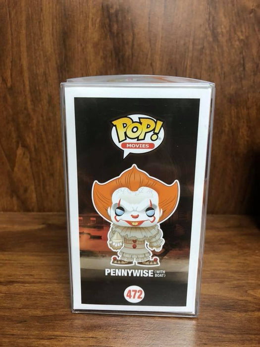 LED- BEYOND CUSTOM! Funko Pop Movie IT: Pennywise with Boat #472 Vinyl Figure with protector case