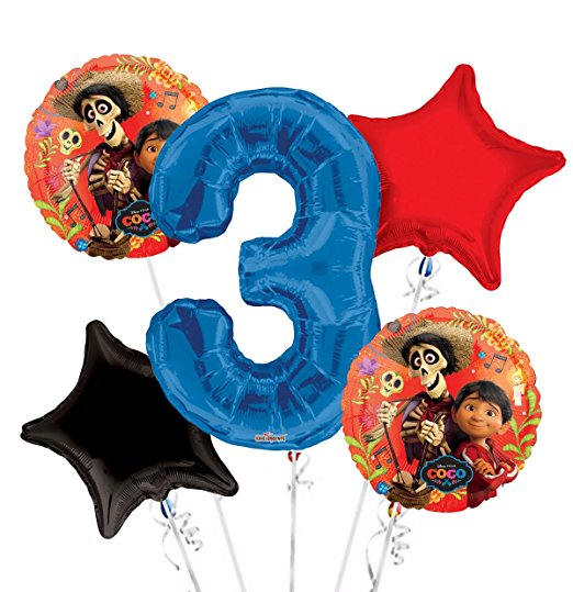Personalized Age Coco Miguel Birthday Party Number Balloon Bouquet (5 pcs) HELIUM NOT INCLUDED