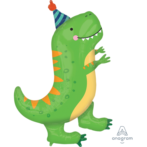 "Cute Party T-Rex Happy Dino 34"" in Supershape Mylar Foil Balloon HELIUM NOT INCLUDED"