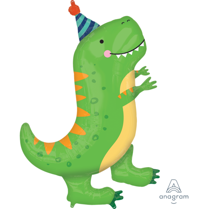 "Cute Party T-Rex Happy Dino 34"" in Supershape Mylar Foil Balloon"