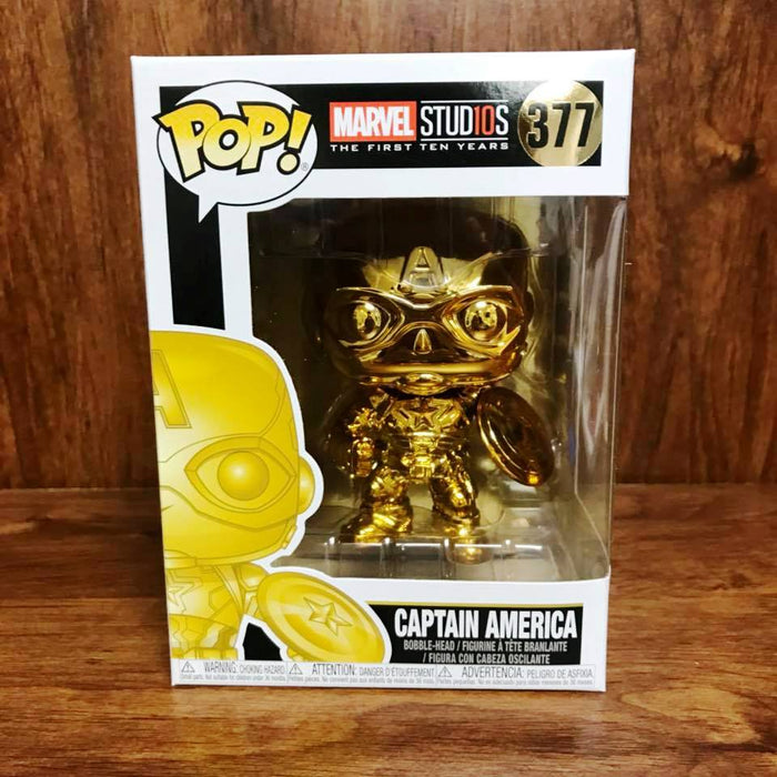 Marvel Stu10s - Chrome Color : Captain America Funko Pop # 377 Vinyl with .5mm pop protector case