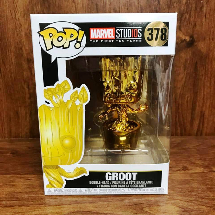 Marvel Stu10s - Chrome Color : Groot Funko Pop # 378 Vinyl with .5mm pop protector case
