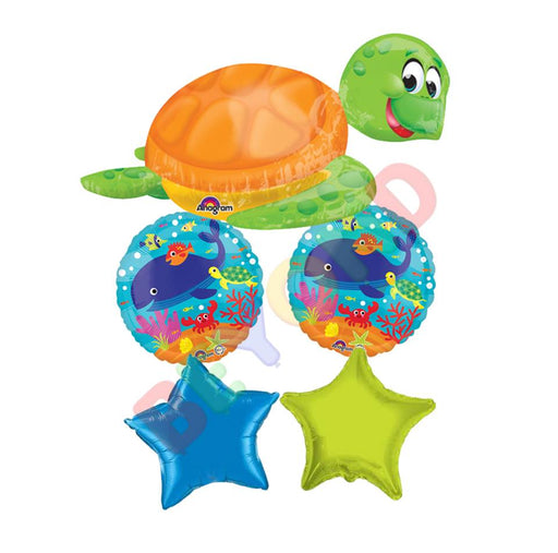 Sea Turtle Under The Sea Balloon 5CT Foil Balloon Bouquet