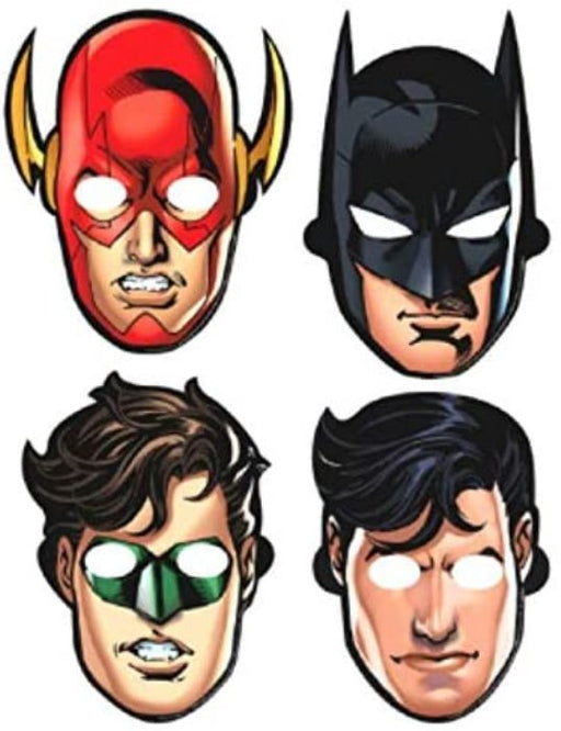 Justice League - Birthday Paper Masks (8 ct) Party Supplies