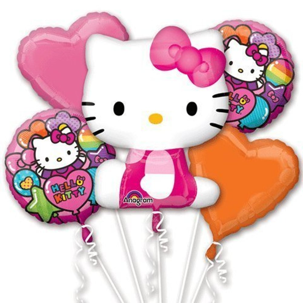 Pink Hello Kitty Happy Birthday Party Favor 5CT Foil Balloon Bouquet'