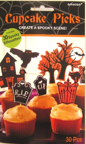 Halloween Spooky Tombstones and Spooky Castles Cupcake Picks Decoration - 30pcs Set