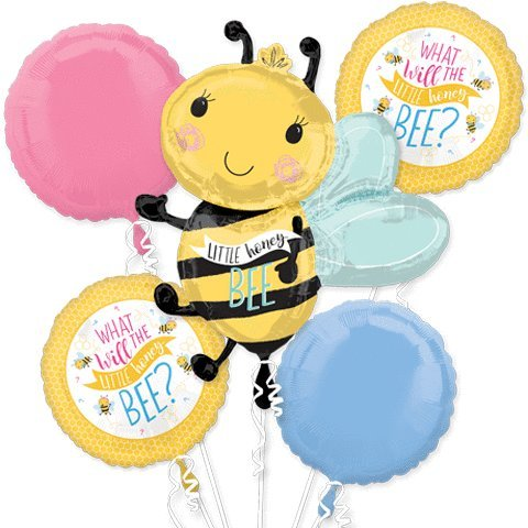 Little Honey Bee Happy Birthday party Favor 5CT Foil Balloon Bouquet