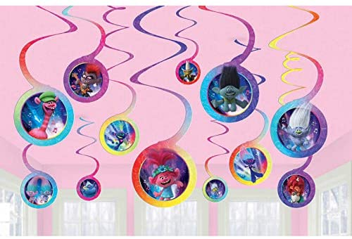 Trolls World Tour Poppy 1x Swirl Decoration Birthday Party Supplies Dangler Pack of 12