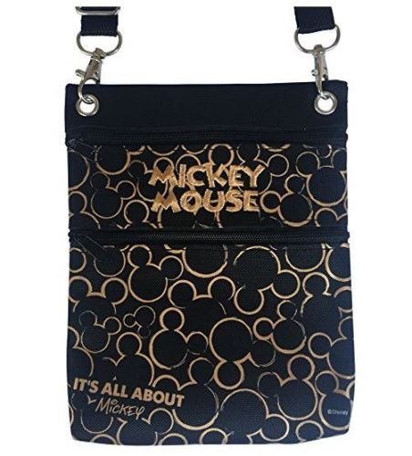 Disney Gold & Black Mickey Mouse Wallet Pouch Bag Purse Shoulder Strap 7.5""