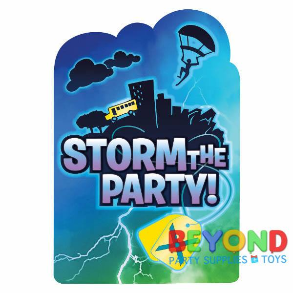 Pack of 8 Fortnite Battle Royal (Storm the party)- Birthday Party Post Card Invitation