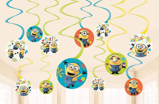 DESPICABLE ME MINION MADE - 1x Swirl Decoration Birthday Party Supplies Dangler Pack of 12
