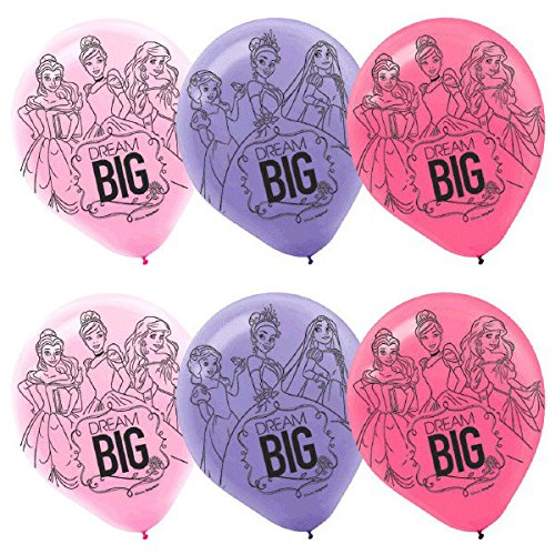 Disney Princess Latex Balloons (6ct) Birthday Party Supplies 12""