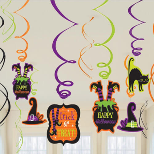 Halloween Witch Hanging Swirls Party Decoration - 12pcs Set
