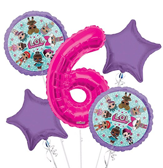 Personalized Age LOL Surprise Birthday Party Number Balloon Bouquet (5 pcs) HELIUM NOT INCLUDED