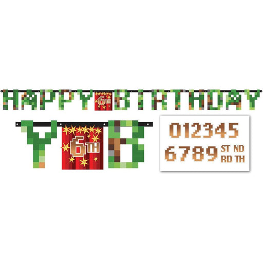 TNT Minecraft Pixel Add an Age Happy Birthday Jumbo Letter Banner Kit