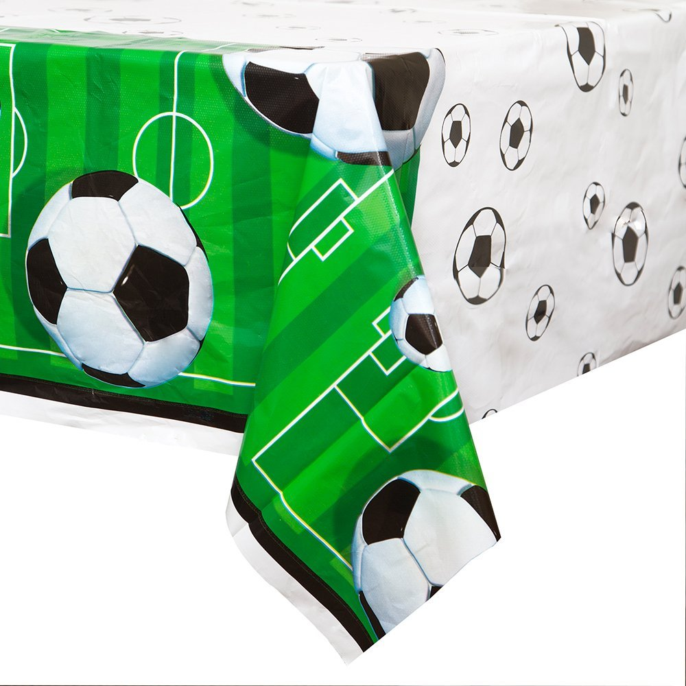 Soccer Theme - Birthday Table Cover Measures 54 in x 96 in, 36 sq ft