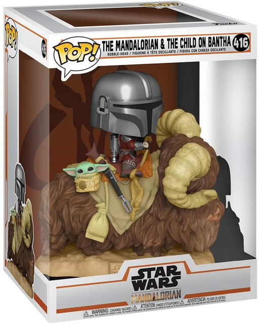 Funko Pop! Deluxe: Mandalorian - Mandalorian on Bantha with Child Vinyl Figure #390