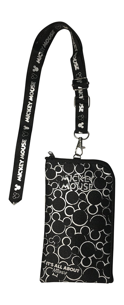 Mickey Mouse Ears Head Lanyard Pouch - Silver