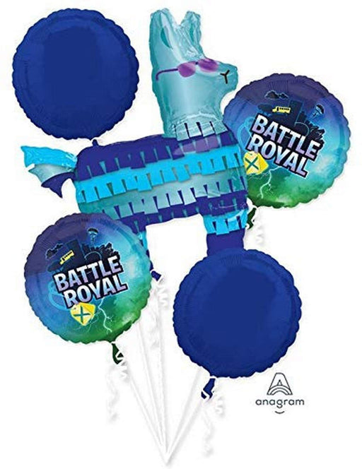 Battle Royal Fort nite Happy Birthday party Favor 5CT Foil Balloon Bouquet