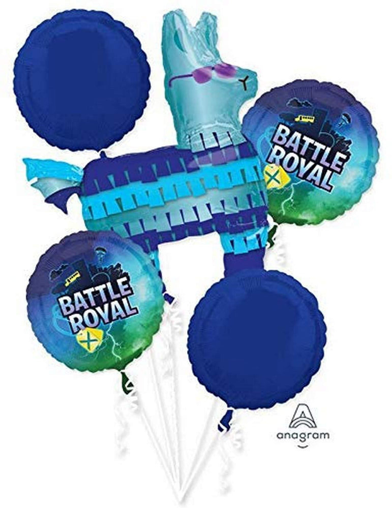 Battle Royal Fort nite Happy Birthday party Favor 5CT Foil Balloon Bouquet HELIUM NOT INCLUDED