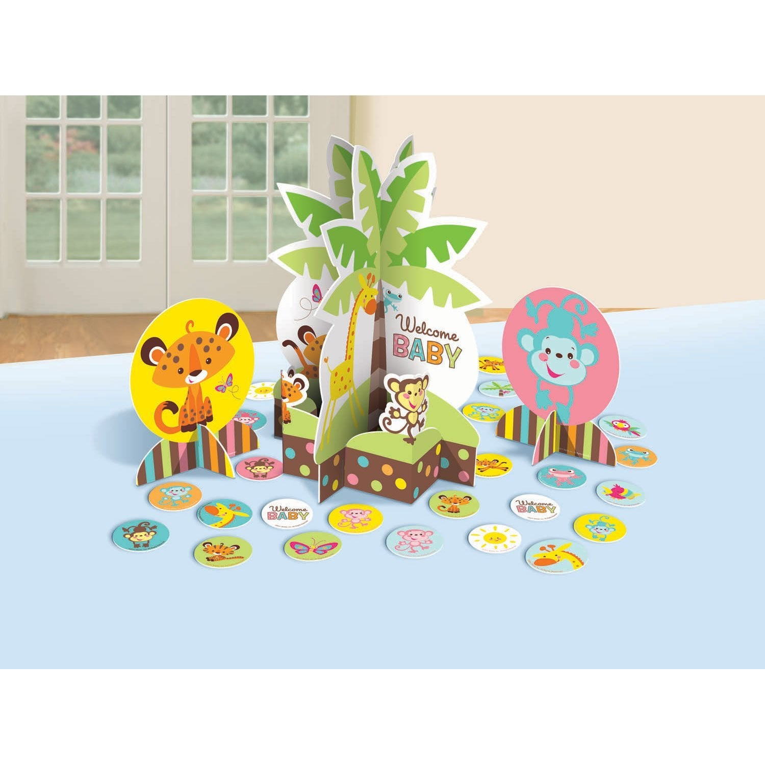 "Amscan Adorable Baby Shower Party Jungle Animals Assorted Table Decorating Kit Decoration, Paper, 12"", Pack of 27"